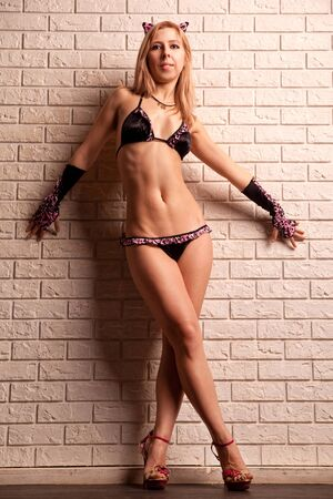 Young sexy woman on brick wall