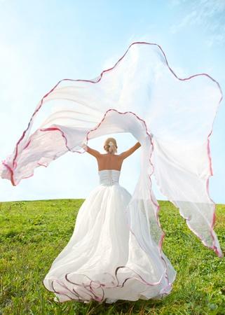 bride with long veil  Stok Fotoğraf