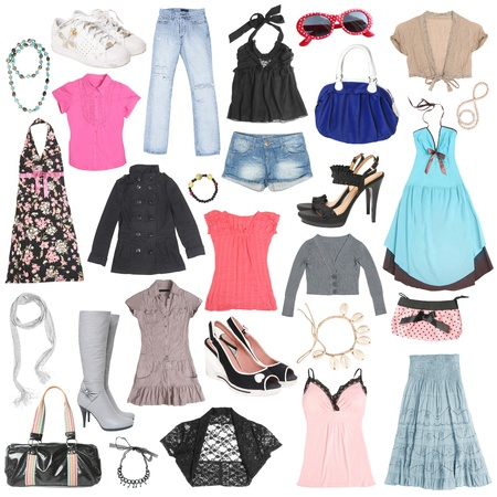 Different female clothes, shoes and accessories. #2  Stock Photo