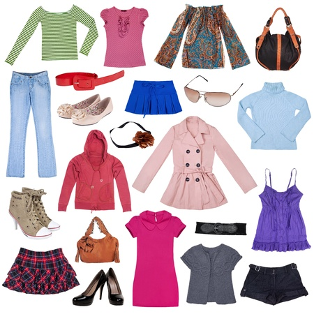 Different female clothes, shoes and accessories photo
