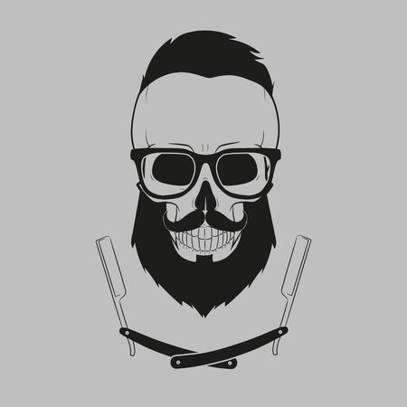 Hipster skull with glasses, mustache and beard.Fashion style.Vector illustration