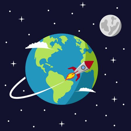 Earth in space vector illustration, rocket spaceship flying around planet orbit on solar system universe, moon, stars flat cartoon design, rocketship or missile flight in cosmos or universe  イラスト・ベクター素材