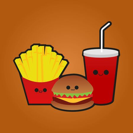 Vector illustration of fast food with face. Smiley. Archivio Fotografico - 133670935