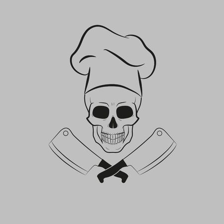 Vector illustration of skull in toque and crossed knifes. Ilustracja