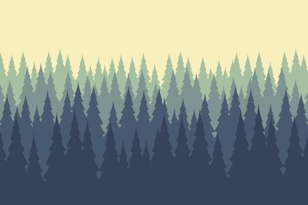 Vector illustration of wild coniferous wood .