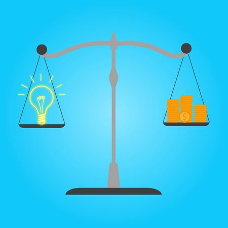 Idea and money stack balance on libra.