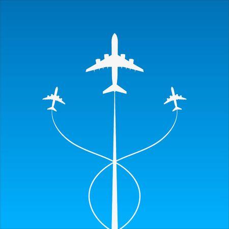 Background of flying planes in sky. Vector. Иллюстрация