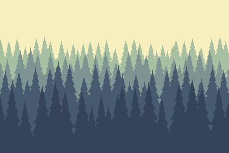 Vector illustration of wild coniferous wood .