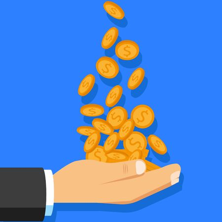 Hand catching falling gold coin on light background. Vector illustration.