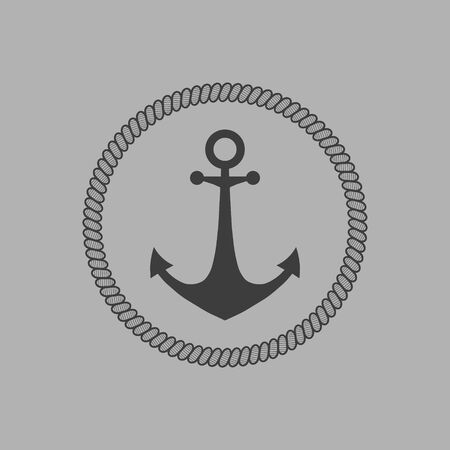 Anchor framed by a mooring rope. Vector.