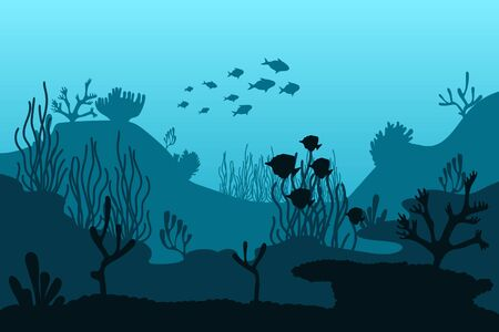 Ocean bottom silhouette of seaweed. Beautiful marine vector illustration.