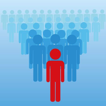 Vector illustration of peoples. Stickman, leader conception. Ilustrace