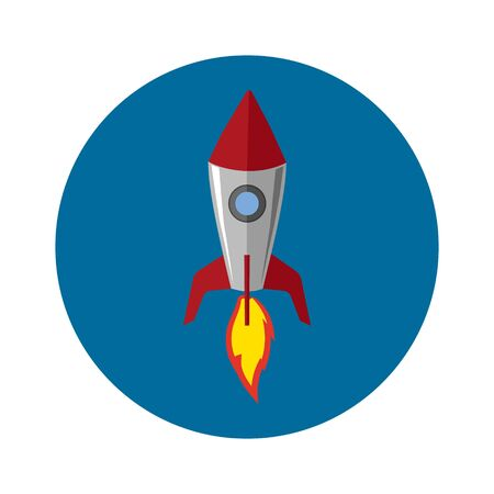 Rocket ship in a flat style. Vector illustration.
