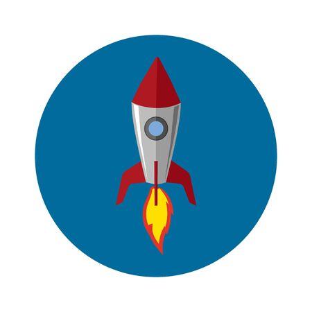 Statek rakietowy w stylu płaskiej. Ilustracja wektorowa.