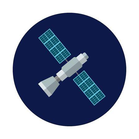GPS satellite. Flat design. World global net. Vector.