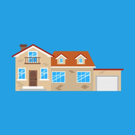 Vector illustration of house isolated on blue background.