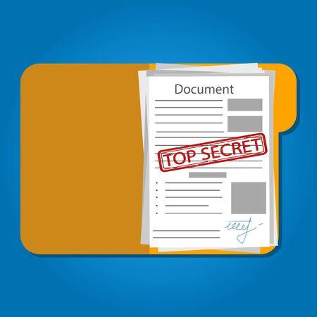 Vector illustration of top secret folder with stamp.