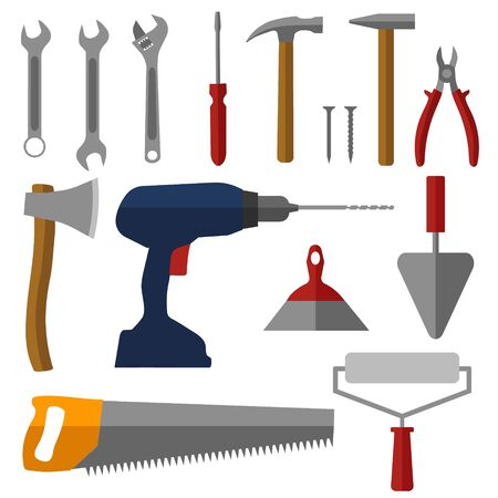 Construction tools set of colored icons. Vector illustration.