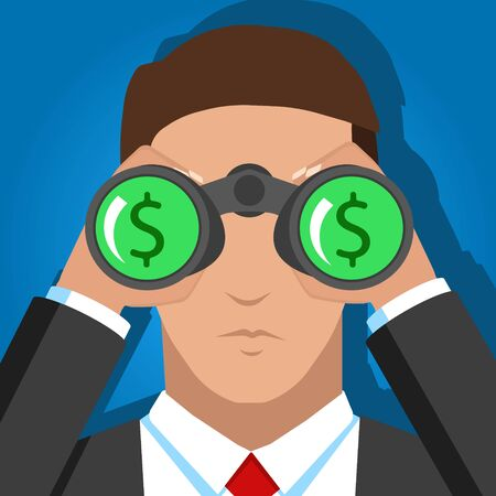 Vector stock of a businessman looking for money. Vector.