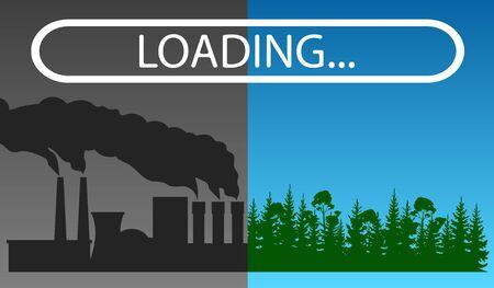 Vector illustration of nature vs urban life. Pollution concept.