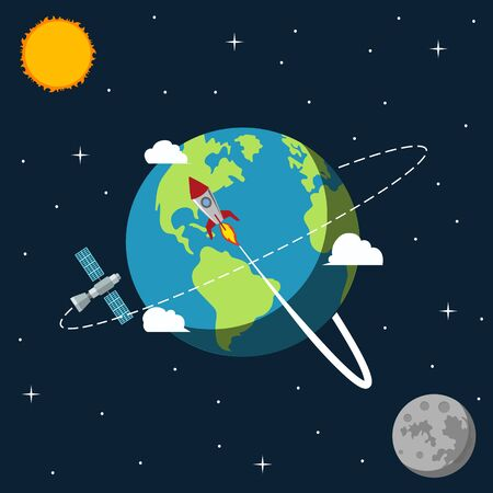 Rocket ship leaves Earth and travels to the Moon. Vector. Imagens - 134482303