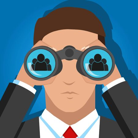 Vector illustration of searching people for work binocular. Иллюстрация