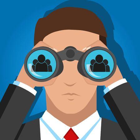 Vektor-Illustration der Suche nach Menschen für die Arbeit binokular.