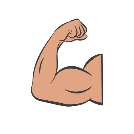 Flexing bicep muscle strength or arm. Vector.  イラスト・ベクター素材