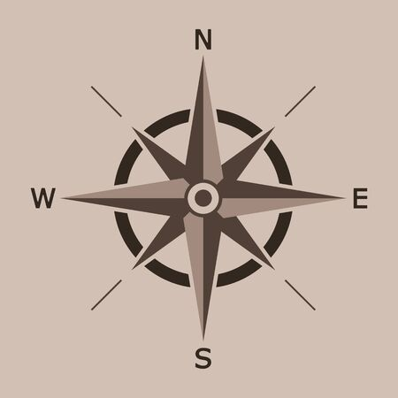 Vector llustration of wind rose isolated.