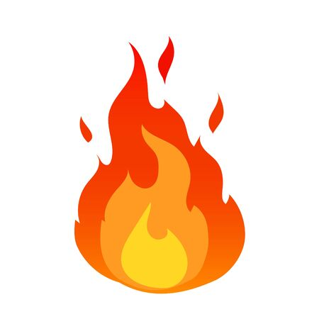 Vector fire flames sign illustration isolated icon.