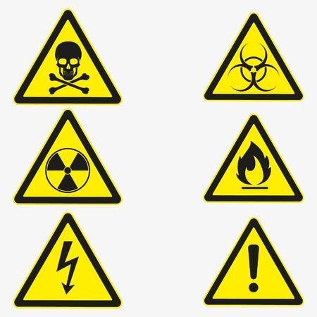 Vector illustration of danger sign set. Isolated.