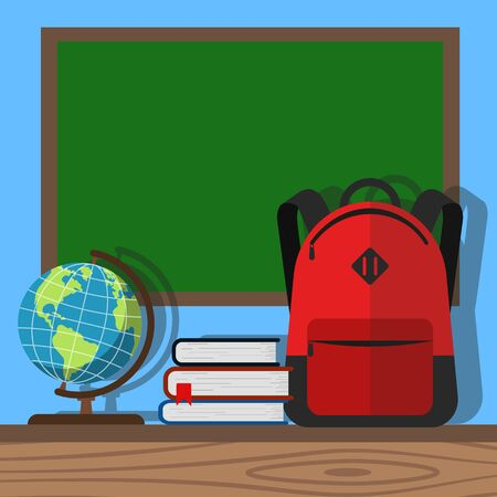 Empty blackboard with backpack and books on the sides. Vector. Foto de archivo - 134822282