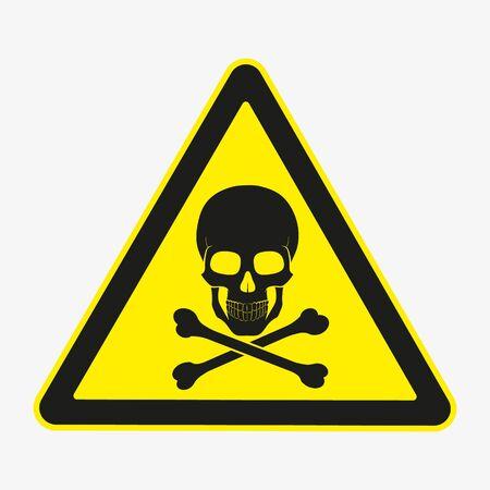 Vector illustration of danger sign. Skull with crossed bones.