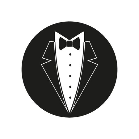 Bow tie with shirt, buttons and man black suit illustration. Vector.