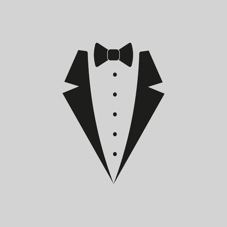 Black tie and suit, vector illustration on grey background.