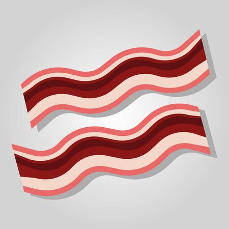 Pork bacon strips realistic flat vector illustration. Isolated. Ilustração