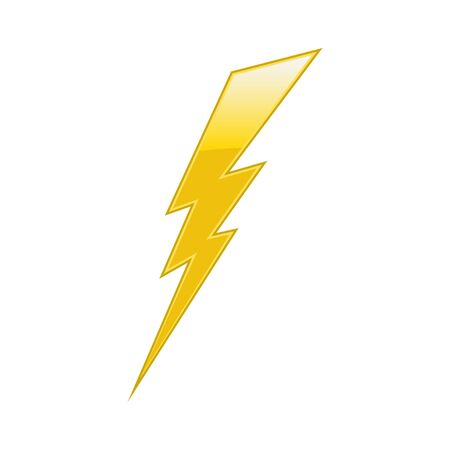 Gelber elektrischer Blitz auf weißem Hintergrund.