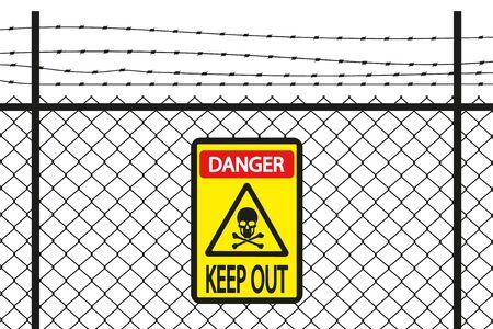 Skull and crossbones danger sign, vector illustration