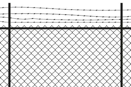 Gráfico de silueta que representa un eslabón de cadena y una cerca de alambre de púas.