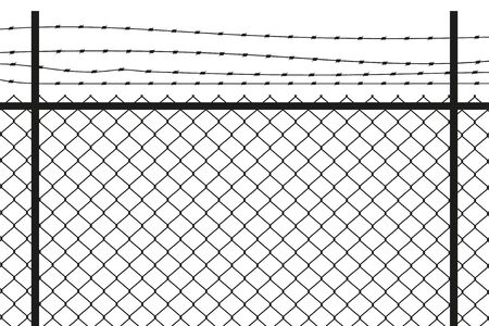 Silhouette graphic depicting a chain link and barbed wire fence.