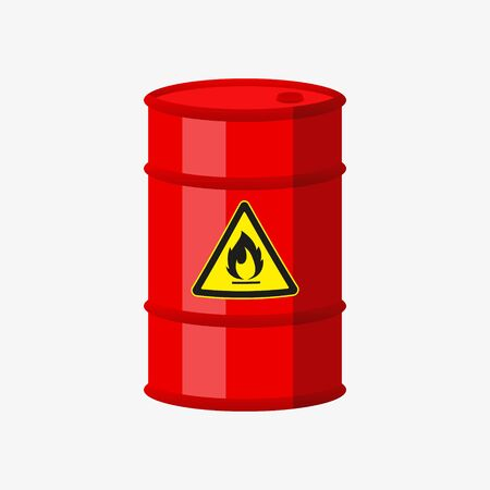 Vector illustration of fuel barrel on withe background.