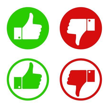 Me gusta y no me gusta el diseño de símbolos. Ilustración vectorial. Ilustración de vector