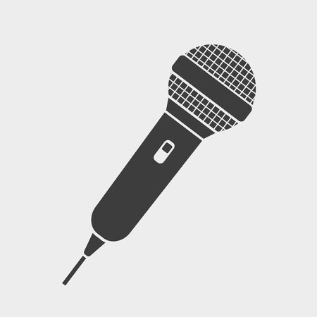 Vector illustration of simple microphone icon. Isolated.