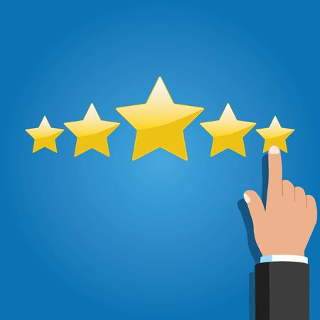 Hand with pointing finger pointing to rating stars.
