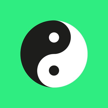 Ying yang symbol on green background. Vector illustration.