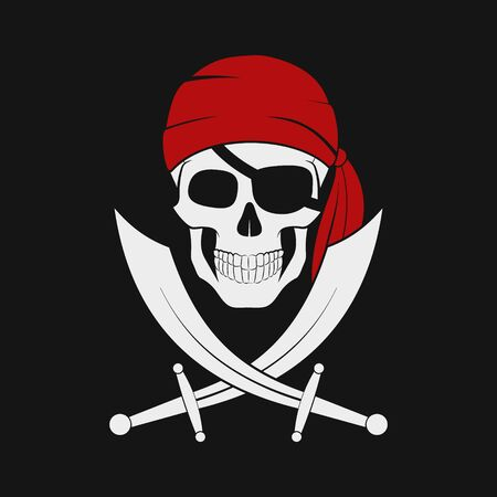 Vector illustration of pirate skull in red bandana with cross Swords. Illustration
