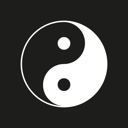 Vector illustration of ying yang symbol on black background.