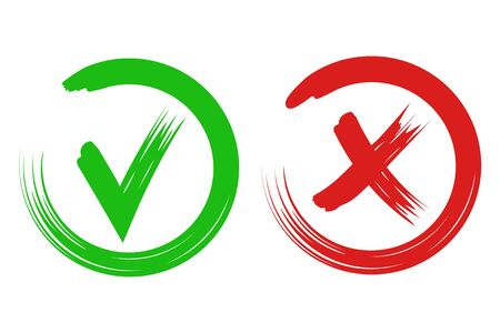 Vector illustration of check mark and cross. Isolated.