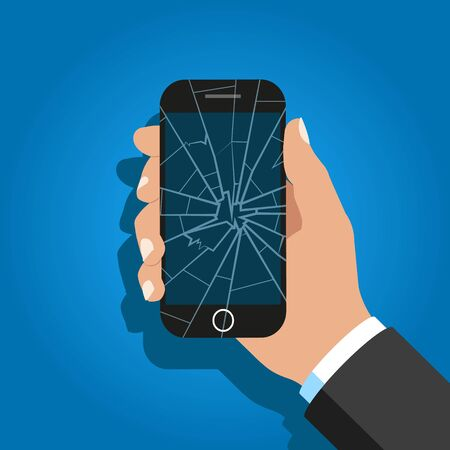 Hand Holding Broken Screen Phone.