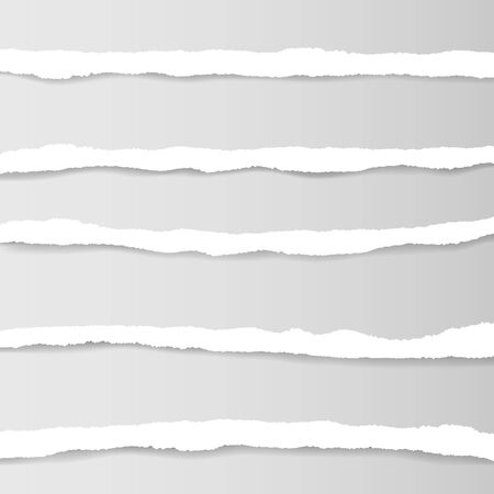 Collection of white torn paper. Vector illustration.